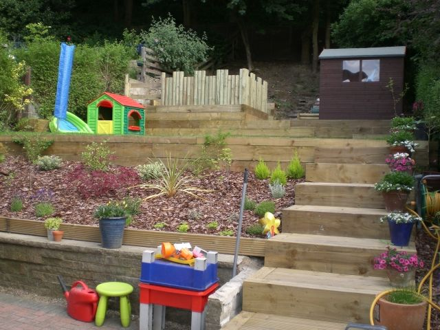 View from the bottom completed : This is a view from the house of the completed garden showing the sleepers, steps and play area.