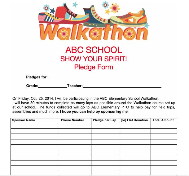 PTO Spring Activities: Use our printables for upcoming walkathon, like this Pledge Sheet.