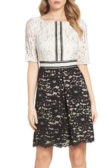 Free shipping and returns on Vince Camuto Fit & Flare Dress at Nordstrom.com. The classic contrast of black and white brings out the luxe texture of lace throughout this graceful cocktail dress.