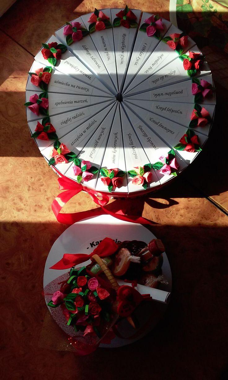 Tort z papieru jako prezent na 18 urodziny, 18 kawałków podzieliłam na 3 wyszło po 6 części, w sześciu są czekoladki - żeby dorosłe życie było słodkie, w następnych 6 są zdrapki lotto żeby miała szczęście, a w ostatnich 6 małe prezenciki i przestrogi na start w dorosłość. Na górze jest kosz z 18 różami, butelką wódki i lizakami. (na górze tortu 18 życzeń)