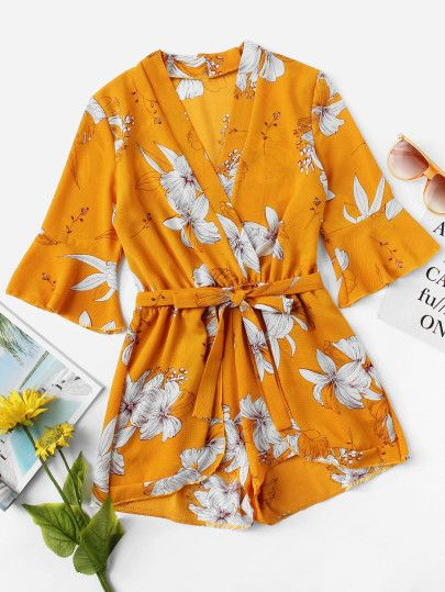 ce1984879bfe Fluted Sleeve Floral Print Surplice Romper With Belt in 2018 ...