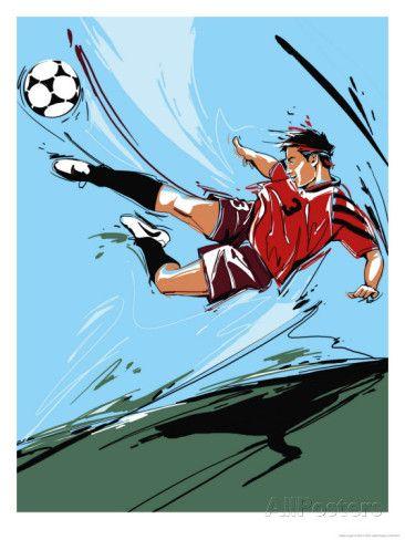 Man Kicking a Soccer Ball Prints at AllPosters.com