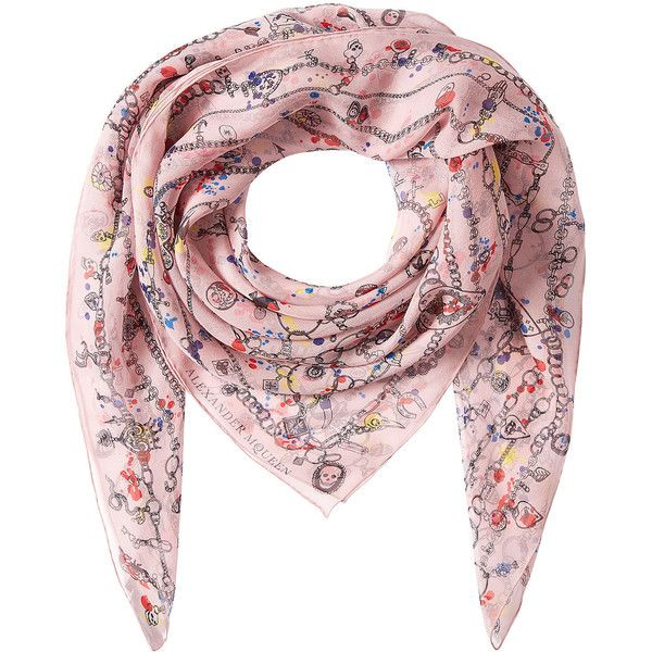 Alexander McQueen Printed Silk Scarf found on Polyvore featuring accessories, scarves, multicolored, multi colored scarves, colorful scarves, patterned scarves, alexander mcqueen shawl and alexander mcqueen scarves