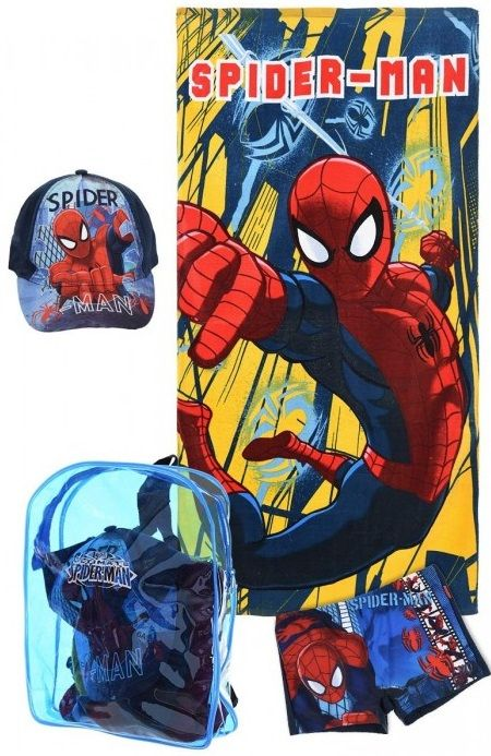 MARVEL ULTIMATE SPIDERMAN Beach Set INCLUDES: Cotton towel,Baseball cap,Backpack & Swimming bottoms