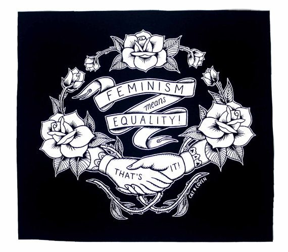 The imagery is printed in non-toxic, eco-friendly white ink on black cotton fabric. Sew on patch Washable Approximately 11.5 x 12.5 inches  The dictionary definition of feminism is the advocacy of womens rights on the grounds of political, social, and economic equality to men. Feminism literally just means equality. It is not about man-hating or wanting a matriarchy, etc. Unfortunately a lot of our generation doesnt know the true definition even though feminism has been entering our…
