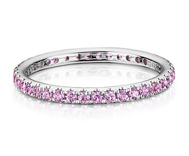 I think this would be so cute as a wedding band instead of a traditional diamond band.  Pink Sapphires.