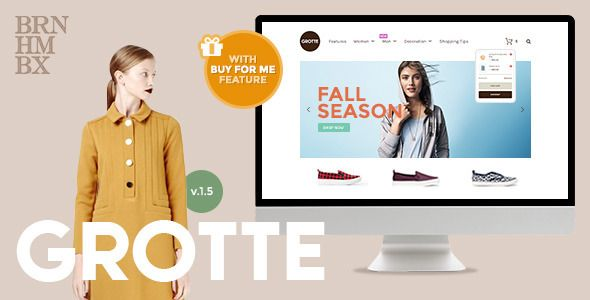 """Grotte is a dedicated WooCommerce shopfront theme for who ever wants to add some sweetness and a bold memorable experience to their shopping sites. With the brand new """"Buy For Me"""" feature, Grotte helps you to create a massive impression on your visitors and also improve your marketing strategy."""