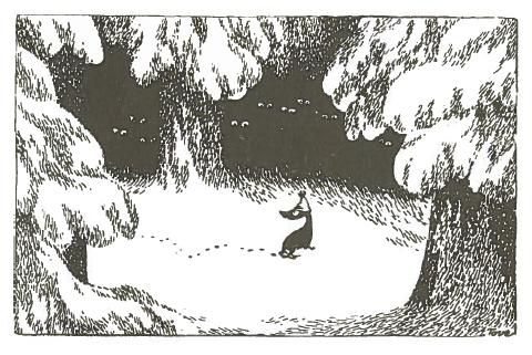 Sorry-oo the dog, surrounded by wolves -- Moominland Midwinter: by Tove Jansson