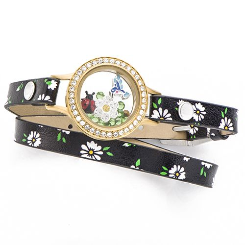 Get in the groove with a little flower power! Wrap up your wrist in style this spring with the Origami Owl Seasonal Exclusive Daisy Genuine Leather Wrap Bracelet featuring a Medium Gold Wrap Living Locket®️ Bracelet with Crystals! The black tone of the Wrap against the bright Gold Living Locket creates a stunning contrast to match all your springtime ensembles.