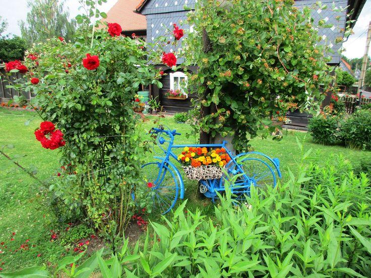 Modré dekor.kolo s květinami
