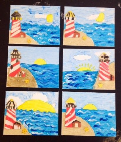 seascape painting with wooden lighthouse/grades 1-3/Art with Mr. Giannetto Blog
