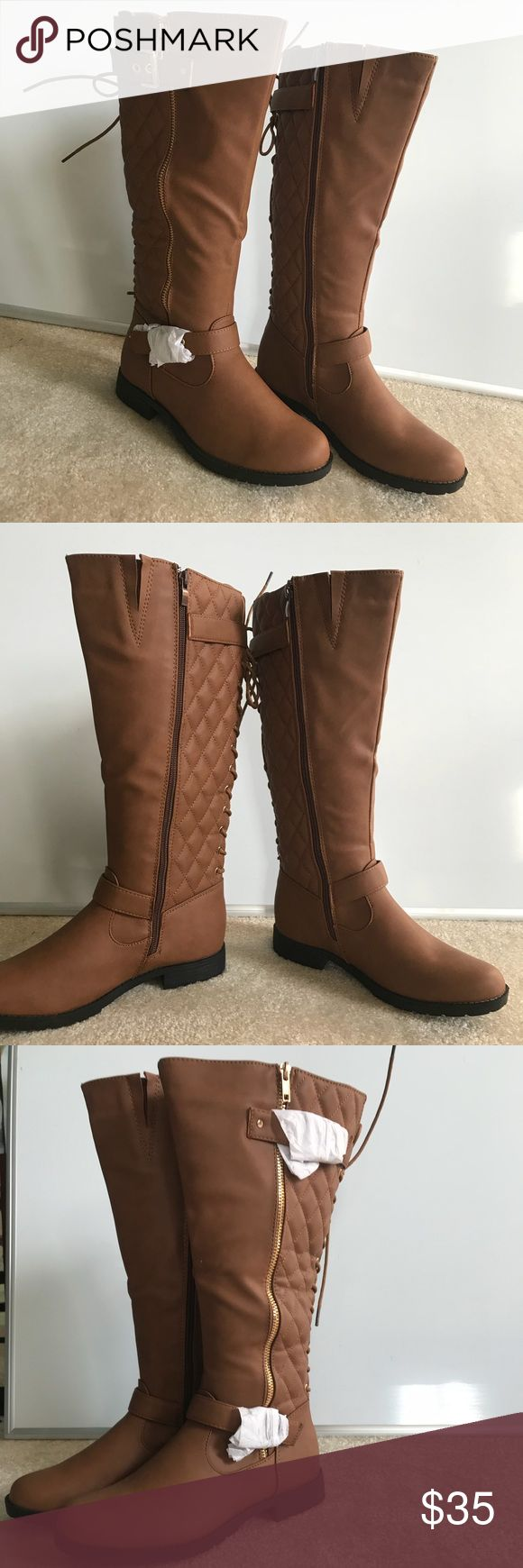 "NEW Belladia Camel Knee High Cinta Boot Size 7.5 New in box! Gorgeous brand new camel colored boots w/ 1 inch heel, 15"" shaft, 14"" circumference, side zip closure, gold hardware, quilted texture and lace up back Belladia Shoes Heeled Boots"