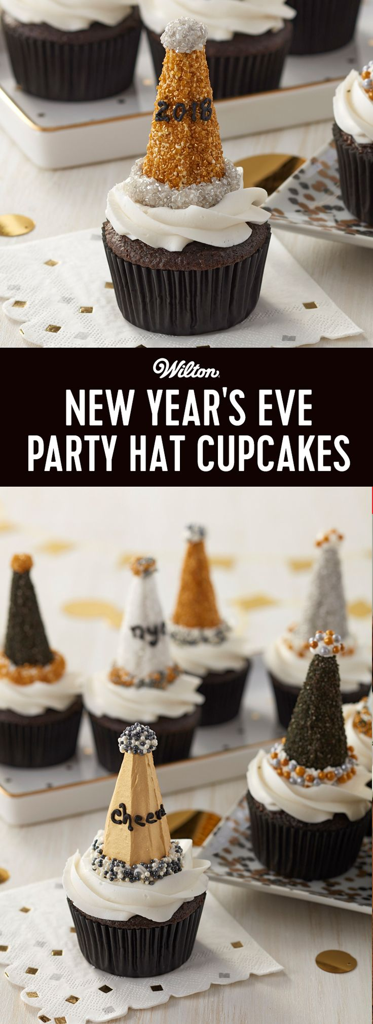 "Ring in the New Year with these adorable New Year's Eve Party Hat Cupcakes! Made using sugar cones and a variety of sprinkles, these cute party hats also feature fun New Year's Eve messages like ""Cheers"" and ""NYE"". Use these cute party hats to top your favorite cupcake recipe and you've got a sweet way to start the new year right! #newyear #newyearseve #wiltoncakes"