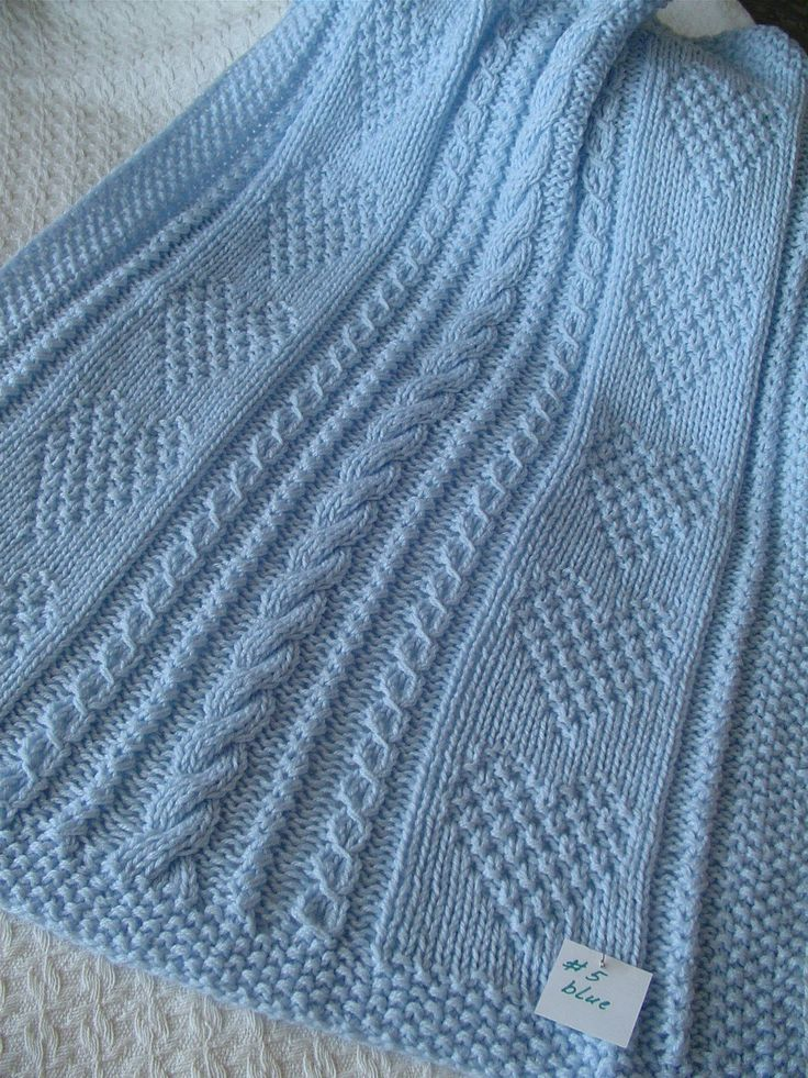 Baby Blanket 5 Blue Baby Blanket Handknit Baby by Ednascloset