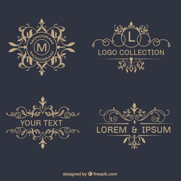 Pack élégant logos ornemental Vecteur gratuit