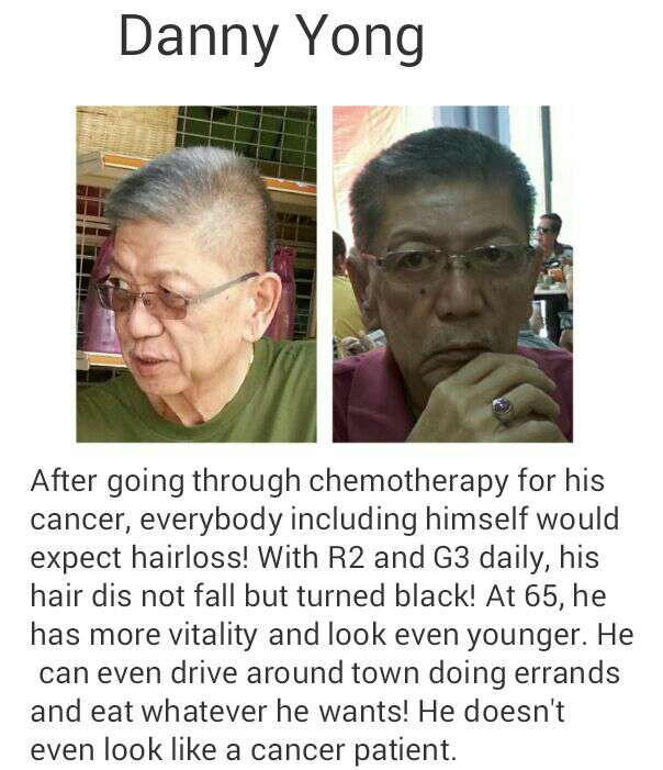 Mr Yong was diagnosed with colon cancer 4th stage, with cancer cells spreaded to his lungs and liver. After taking ageLOC R2 & G3 juice for 6 months, his cancer marker went down!! Disclaimer: Pls note that Pharmanex products are not intended to treat any illness but are complementary to a healthy lifestyle.