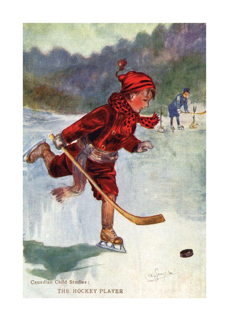 Canadian Vintage Art Print - THE HOCKEY PLAYER