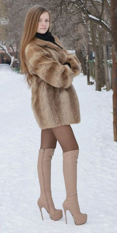 Nude girls with fur boots-7810