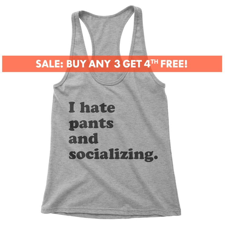 I Hate Pants And Socializing Tank Top, Ladies Workout, Yoga Tank Top, Funny Gym Tank, Gift For Daughter, Girlfriend