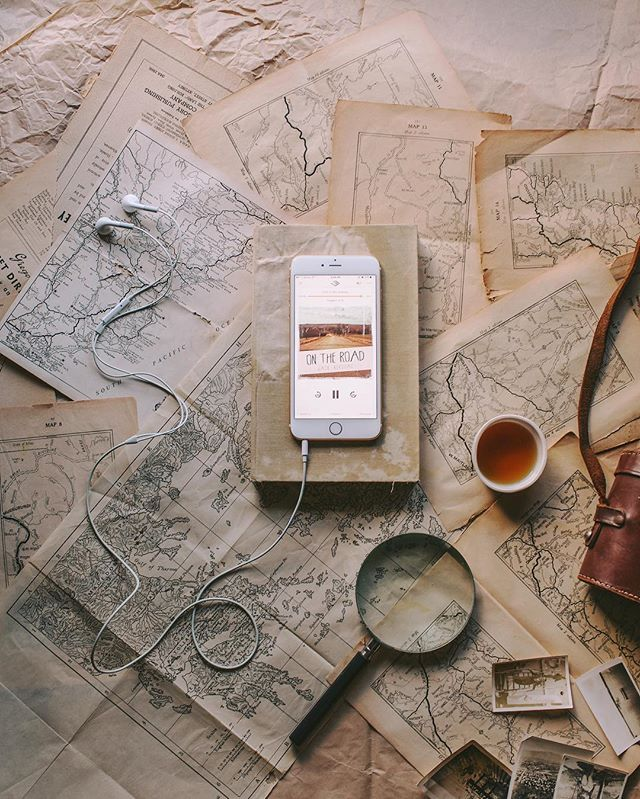 Afternoons full of endless old maps, cups of tea and planning for new adventures tomorrow…  Sometimes it's nice to sit still for a while and just listen. Listening to 'On the Road' by Jack Kerouac. @Audible_Au #AudibleAU