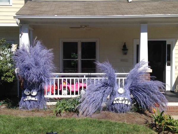 Minion yard decorations made out of spray paint and for Ornamental grasses for front yard