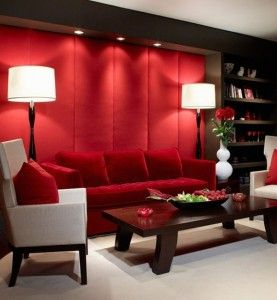 Stunning Room Design With Red Color Palette And White And Red Sofas With White Table Lamps And Tble Made Of Wood And Flower Vas