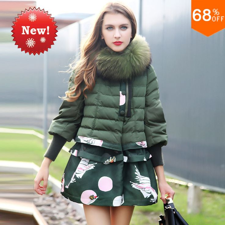 Decently Best Fashion Jacket Duck Down Fur Hooded Parka Green Winter Coat Printed Long Women Jackets Italian Abrigo Plumas Mujer #Affiliate