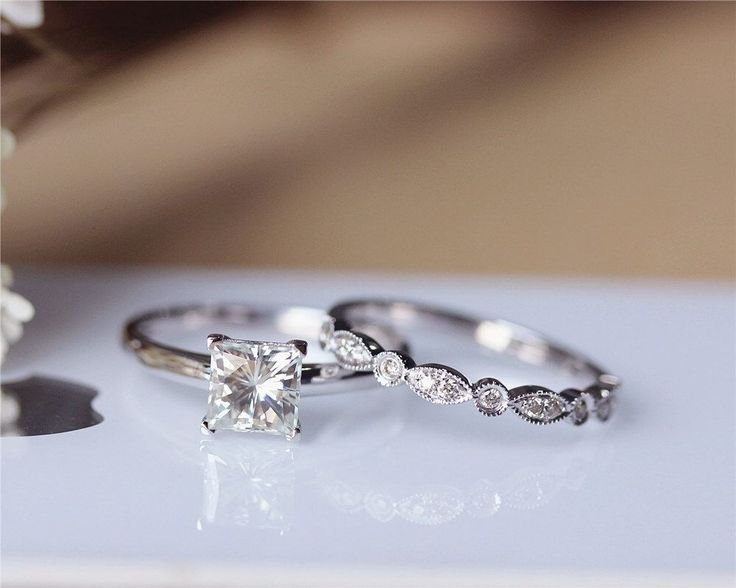 Princess Cut Brilliant Moissanite Engagement Ring Set Solid 14K White Gold Wedding Ring Moissanite Ring Set Bridal Ring Set Anniversary Ring by JulianStudio on Etsy https://www.etsy.com/listing/219798429/princess-cut-brilliant-moissanite