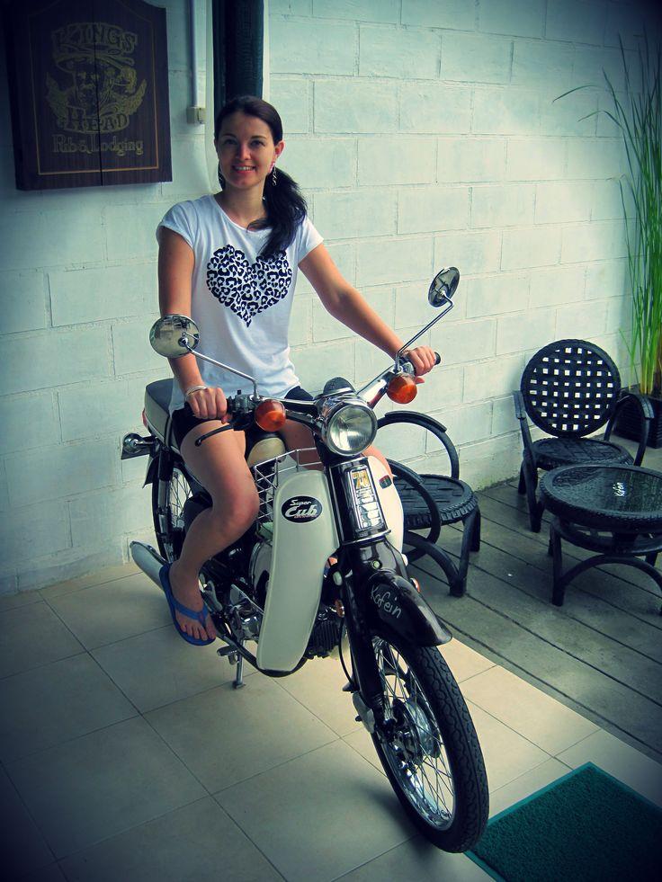 Krisitina From Russia Enjoy Ride Motorcycle Honda C70 at Kafein Bali Balangan
