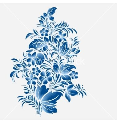 gzhel | Blue flower ornament gzhel russian style vector art - Download Frame ...