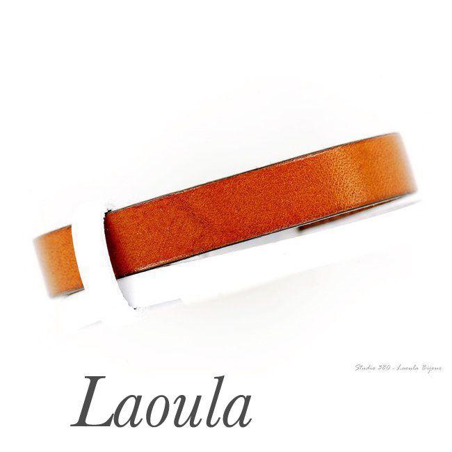 Bracelet en cuir marron et blanc création originale 269476