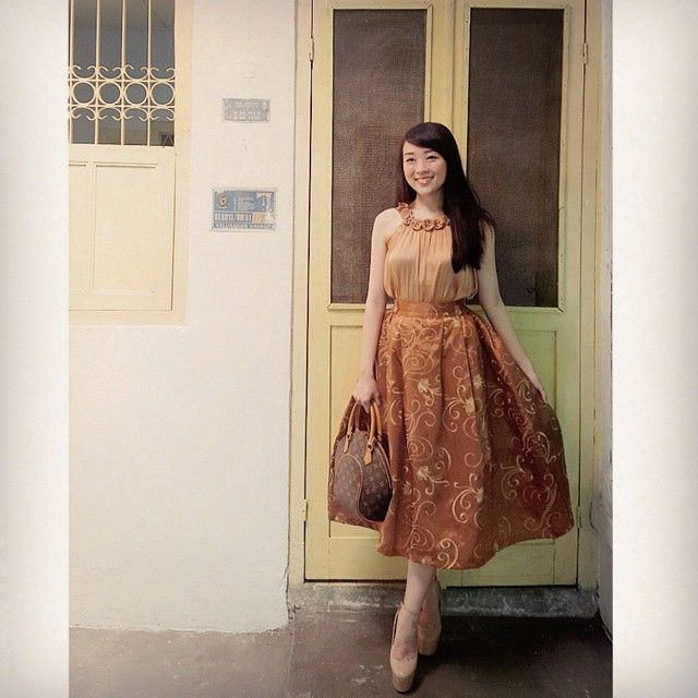 """Another look to steal from @theresiajuanita .. she's always adorable ...  our gold Kannah skirt - maxi for her visit to grandma's home..  """"Today's theme : VINTAGE emoji Going to my grandma house today and i cant skip a chance to take photos in her house... because my outfit is kinda match with the ambiance.. do you like it too?? Skirt by : @swanstwenty """""""