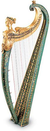 Dital harp by John Egan. 28 strings.  This harp is characterized by a button (dital) mechanism: pressing one of the buttons on the inside of the column engages a mechanism that rotates the fourchettes (pronged discs or 'forks') situated on the neck, altering all notes of that name throughout the range of the instrument. The original case and ivory tuning key are also extant; the luxurious decoration, in a mannerist Irish style, is emblematic of the taste of the English nobility. Ireland…