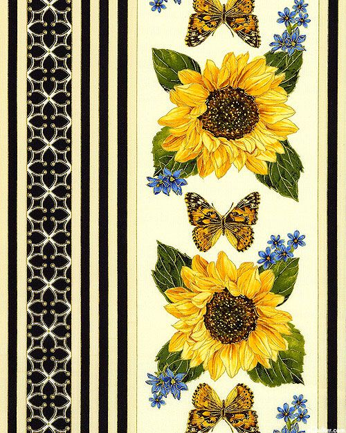 Forever Sunflowers - Sunshine Garden Stripe - Quilt Fabrics from…