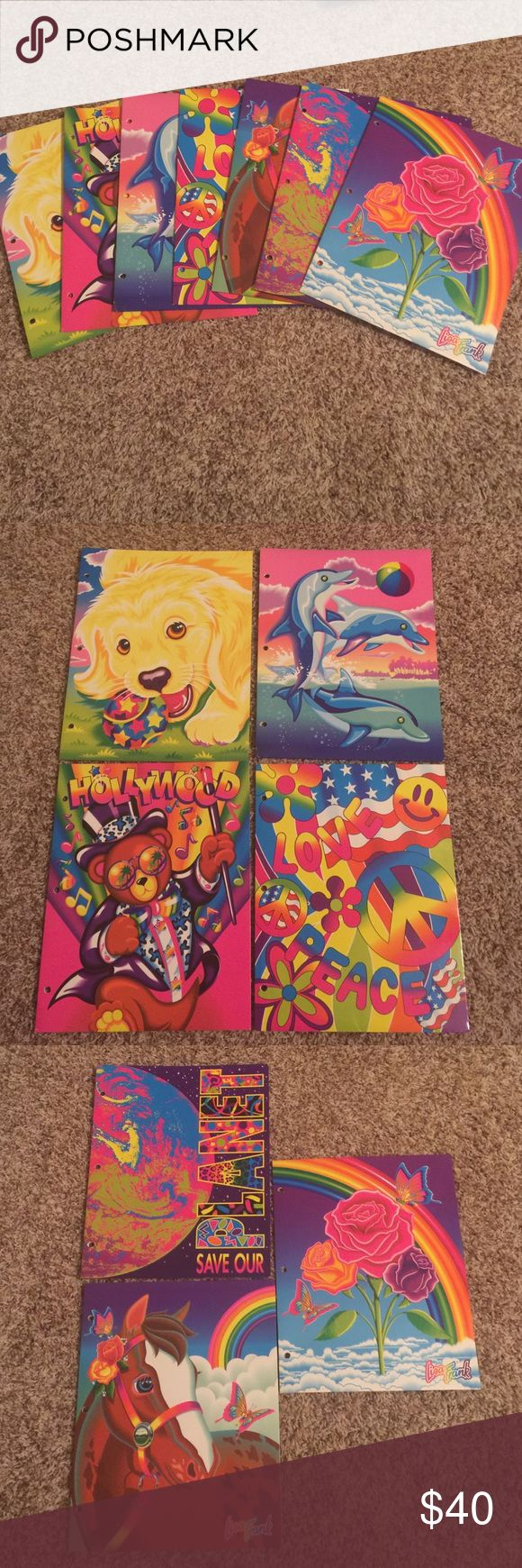 7 vintage Lisa Frank folders Seven total, gently or never used Lisa Frank folders. All in good shape. Minimal or no stress signs on binder holes. None are written in. Minimal to no creasing on folders. 9 out of 10 on condition. All 90's Lisa Frank. You get all 7 for one price. No price talk in comments. No holds or trades. Bundling is fun & I have more Lisa frank items listed/to be listed soon. lisa frank Accessories