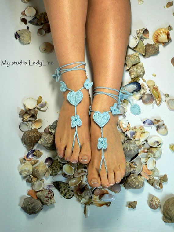 Ocean Blue Crochet Barefoot Sandals Foot jewelry by LadyAlinaShop