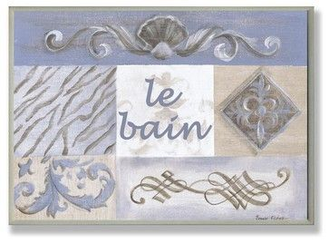 Grey and Tan Patchwork with Shell Bath Plaque contemporary-artwork