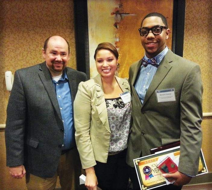Arkansas Youth of the Year Marquis Chanay (right) with Jason Rolett, executive director of the Boys & Girls Club of Phillips County and former Miss America runner-up Alyse Eady.