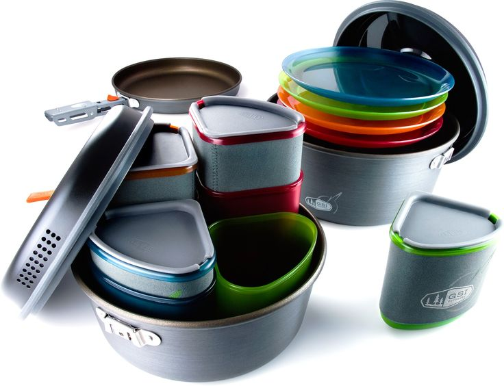 Plates / Bowls / Mugs / Pots / Frypan for 4 Hungry Hikers — GSI Outdoors Pinnacle Camper Cookset