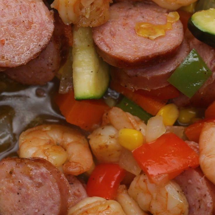Shrimp and Sausage Stir Fry // #shrimp #sausage #stirfry #dinner #tasty
