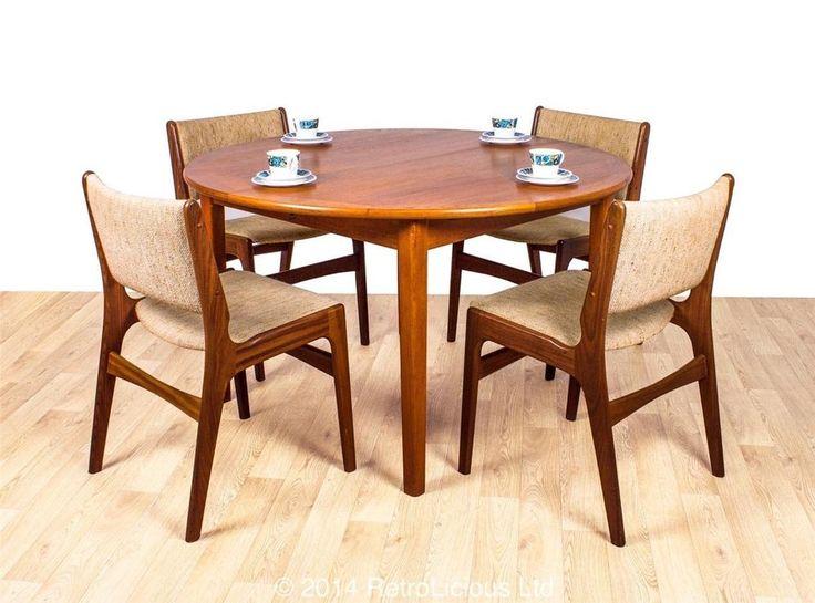 £425 set of 4 (plus table) Danish MobelFabrik Teak Extending Dining Table &