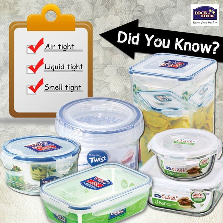 Did you know?   All Lock & Lock Products are Air Tight, Liquid Tight and Smell Tight!!