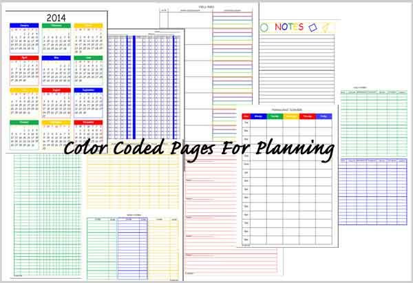 My Color Coded HomeSchool Planner and Records. No more using different colored pens for each student!