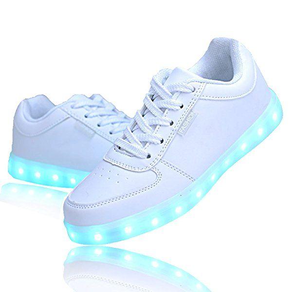 QOUJEILY Unisex LED Shoes 7 Colors USB Charging Sneakers (5.5 UK / 39 EU, White): Amazon.co.uk: Shoes & Bags