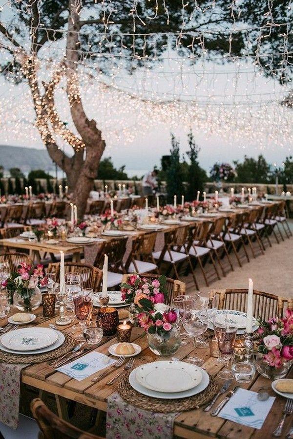 Romantische rustikale Landhochzeit Beleuchtung Dekor Ideen #Hochzeiten #Hochzeitsideen # W …   – Country Weddings