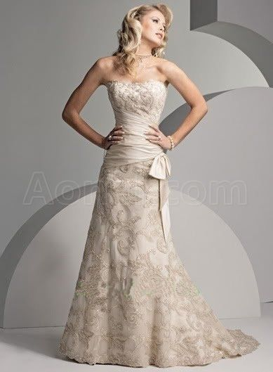 Champagne A Line Strapless Sweep Train Satin Lace Front
