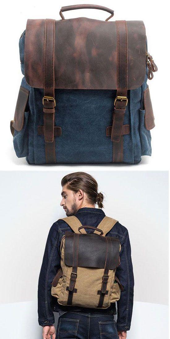 Handmade Ziplock Outdoor Large Rucksack Cowhide Leather Splicing Thick Canvas School Backpacks for big sale ! #outdoor #large #school #backpack #bag #cute #canvas #rucksack #travel
