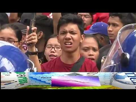 Manifestación en Filipinas frente a la embajada de EEUU por la próxima v...