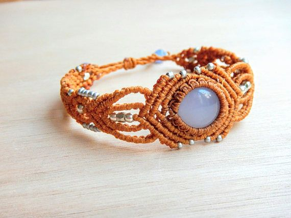 Hey, I found this really awesome Etsy listing at https://www.etsy.com/listing/535295403/blue-chalcedony-macrame-bracelet-brown