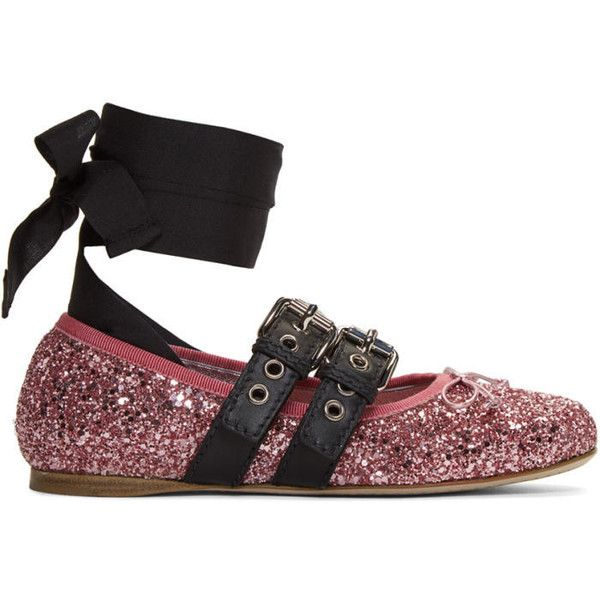 Miu Miu Pink Double Bands Glitter Ballerina Flats (€520) ❤ liked on Polyvore featuring shoes, flats, pink, ballet flat shoes, ballerina flat shoes, glitter flats, glitter ballet flats and bow ballet flats